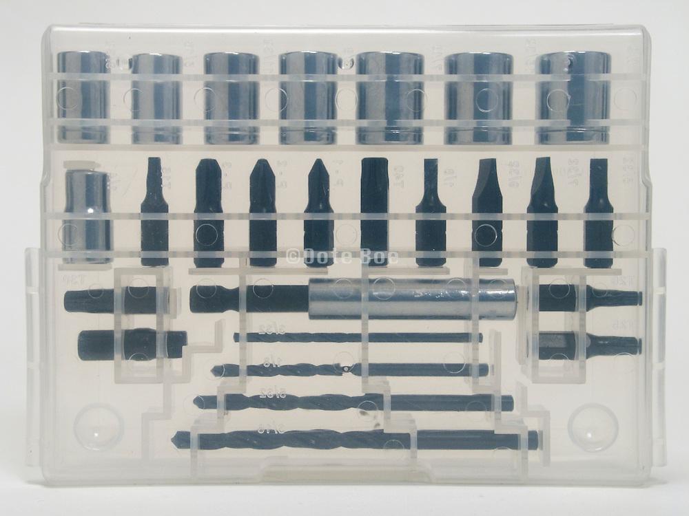 plastic transparent box set with various drill tools