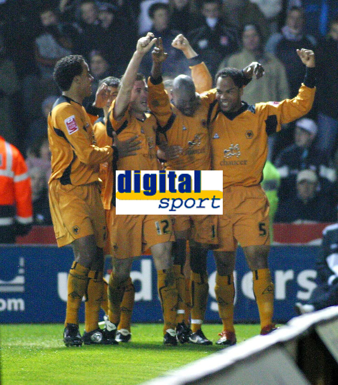 Photo: Dave Linney.<br />Derby County v Wolverhampton Wanderers. Coca Cola Championship. 18/11/2005.George Ndah(second from right) celebrates his goal for Wolves.