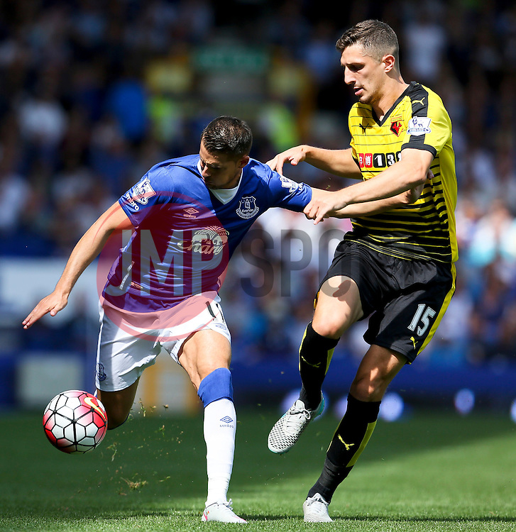 Everton's Kevin Mirallas battles with Watford's Craig Cathcart   - Mandatory byline: Matt McNulty/JMP - 07966386802 - 08/08/2015 - FOOTBALL - Goodison Park -Liverpool,England - Everton v Watford - Barclays Premier League