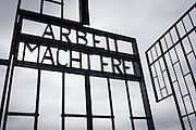 The notorious moto in German labour and extermination camps Arbeit Macht Frei ('Work will set you free') in the Nazi and Soviet Sachsenhausen concentration camp during WW2, now known as the Sachsenhausen Memorial and Museum. Sachsenhausen was a Nazi concentration camp in Oranienburg, 35 kilometres (22 miles) north of Berlin, Germany, used primarily for political prisoners from 1936 to the end of the Third Reich in May 1945. After World War II, when Oranienburg was in the Soviet Occupation Zone, the structure was used as an NKVD special camp until 1950. Executions took place at Sachsenhausen, especially of Soviet prisoners of war. 30,000 inmates died there from exhaustion, disease, malnutrition, pneumonia, etc. The remaining buildings and grounds are now open to the public as a museum.