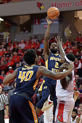 09 December 2017:  Jonathan Stark lifts the ball over Milik Yarbrough during a College mens basketball game between the Murray State Racers and Illinois State Redbirds in  Redbird Arena, Normal IL