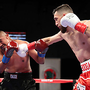 VERONA, NY - JUNE 08: Alex Rincon punches Engelberto Valenzuela during the Golden Boy on ESPN fight night at Turning Stone Resort Casino on June 8, 2018 in Verona, New York. (Photo by Alex Menendez/Getty Images) *** Local Caption *** Engelberto Valenzuela; Alex Rincon