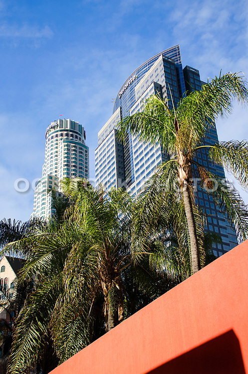 Us Bank Tower Skyscraper and Deloitte Building Los Angeles California