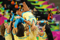 Cheerleaders Khimki Dancers perform during basketball match between National Teams of Slovenia and Dominican Republic in Eight-finals of FIBA Basketball World Cup Spain 2014, on September 6, 2014 in Palau Sant Jordi, Barcelona, Spain. Photo by Tom Luksys  / Sportida.com <br /> ONLY FOR Slovenia, France