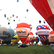 Hot Air balloons launch around rural Michigan near Battle Creek during the World Hot Air Ballooning Championships. Battle Creek, Michigan, USA. 19th August 2012. Photo Tim Clayton