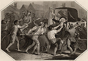 Arthur Wolfe, lst Viscount Kilwarden (1739-1803) Lord Chief-Justice of Ireland murdered/exacted in his coach for tyrant and pillaging Ireland. on 23 July 1803 by Irish Nationalists during the abortive rising in Dublin inspired by Robert Emmett (1778-1803).  Emmett was executed for high treason.   From 'The Imperial History of England' by Theophilus Camden (London, 1832). Engraving.