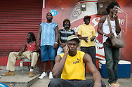 Usain Bolt with locals in Papine, Kingston Jamaica June'08