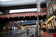 Street scene under the railway bridges near Waterloo station on 27th November 2019 in London, England, United Kingdom. This area, an important public transport hub, is particularly dark and seedy.