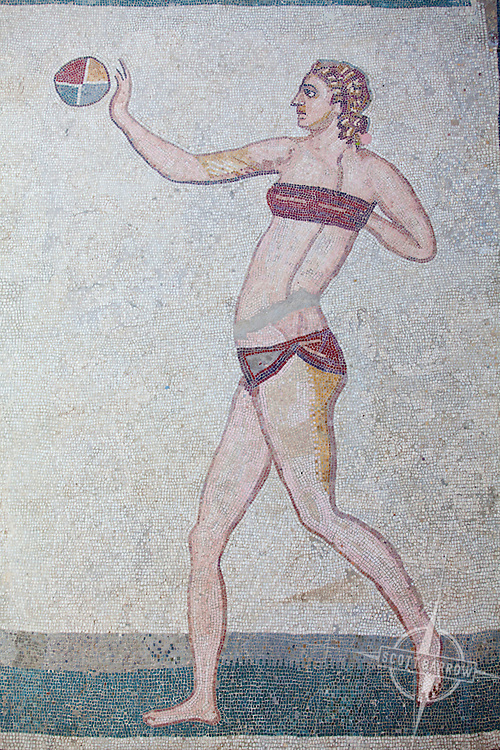 """Mosaics of the Villa Imperiale del Casale near Piazza Italy on the Island of Sicily. Room of the girls in """"Bikini""""."""