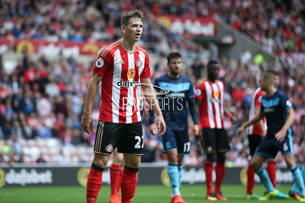 Sunderland defender Donald Love (22)  defends the corner during the Premier League match between Sunderland and Middlesbrough at the Stadium Of Light, Sunderland, England on 21 August 2016. Photo by Simon Davies.