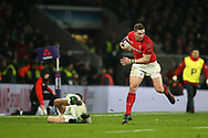 George North of Wales gets past England's Jonny May. England v Wales, NatWest 6 nations 2018 championship match at Twickenham Stadium in Middlesex, England on Saturday 10th February 2018.<br /> pic by Andrew Orchard, Andrew Orchard sports photography