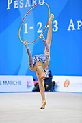 """Basta Anna during hoop routine at the International Tournament of rhythmic gymnastics """"Città di Pesaro"""", 01 April, 2016. Anna is an Italian gymnast, born on January 23, 2000 in Bologna.<br /> This tournament dedicated to the youngest athletes is at the same time of the World Cup."""