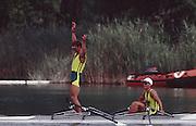 .Barcelona Olympic Games 1992.Olympic Regatta - Lake Banyoles.AUS LM2X - Peter Antonie..       {Mandatory Credit: © Peter Spurrier/Intersport Images]..........       {Mandatory Credit: © Peter Spurrier/Intersport Images]..........       {Mandatory Credit: © Peter Spurrier/Intersport Images].........