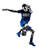 one italian soccer player man playing football jumping in silhouette white background