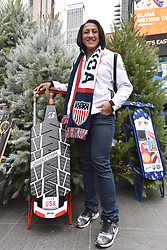 Bobsled Olympian Elana Meyers Taylor poses during the Team USA Winter Fest  - 100 day countdown to the 2018 Winter Olympics, in Times Square, New York, on November 1, 2017. (Photo by Anthony Behar/Sipa USA)