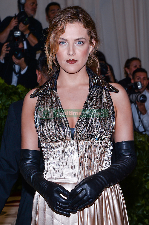 Riley Keough walking the red carpet at The Metropolitan Museum of Art Costume Institute Benefit celebrating the opening of Heavenly Bodies : Fashion and the Catholic Imagination held at The Metropolitan Museum of Art  in New York, NY, on May 7, 2018. (Photo by Anthony Behar/Sipa USA)