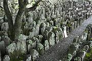 Jizo statues at the Adashino Nembutsuji Temple Kyoto Japan