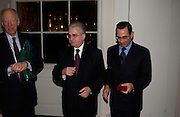 Lord Jacob Rothschild, Prof Mikhail Piotrovsky,  Prof David KHALILI, , Private view of 'Heaven on Earth' exhibition. Hermitage. Somerset House. 24 March 2004. ONE TIME USE ONLY - DO NOT ARCHIVE  © Copyright Photograph by Dafydd Jones 66 Stockwell Park Rd. London SW9 0DA Tel 020 7733 0108 www.dafjones.com