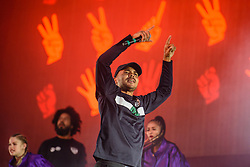 © Licensed to London News Pictures. 26/08/2017. Reading Festival 2017, Reading, UK. Major Lazer perform on the main stage. Walshy Fire and Jillionaire pictured  Photo credit: Andy Sturmey/LNP