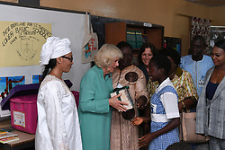 First Lady of the Gambia Fatou Bah-Barrow (left) with the Duchess of Cornwall (second left) meeting students during a visit to St Teresa's School in Banjul, The Gambia, on day two of the royal couple's trip to west Africa.