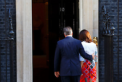 © Licensed to London News Pictures. 24/06/2016. London, UK. Prime Minister DAVID CAMERON announces the EU referendum results and that he will step down as Prime Minister by October with his wife SAMANTHA CAMERON in Downing Street, London on Friday, 24 June 2016. The UK has voted by a narrow margin to leave the European Union. Photo credit: Tolga Akmen/LNP