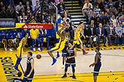 Golden State Warriors forward David West (3) dunks the ball against the Minnesota Timberwolves at Oracle Arena in Oakland, Calif., on January 25, 2018. (Stan Olszewski/Special to S.F. Examiner)