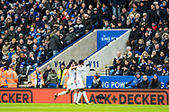 Crystal Palace #11 Wilfried Zaha, Crystal Palace #10 Andros Townsend, celebrates after scoring goal during the Premier League match between Leicester City and Crystal Palace at the King Power Stadium, Leicester, England on 16 December 2017. Photo by Sebastian Frej.