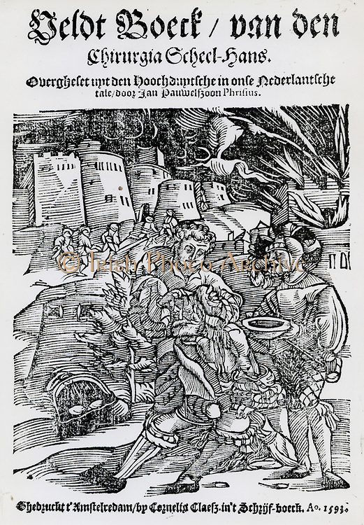 Wounded knight being given first aid. From title page of a book on field surgeey, 1593.