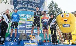 20.04.2016, Aras, AUT, 40. Giro del Trentino Melinda, 2. Etappe von Arno nach Aras, im Bild Sergey Firsanov (RUS, 2. Platz Etappe) , Mikel Landa (ESP, Etappensieger), Damiano Cunego (ITA, 3. Platz Etappe) // 2nd placed Sergey Firsanov of Russia, Stage winner Mikel Landa of Spain and 3rd placed Damiano Cunego of Italy during the 2nd stage from Arco to Anras of 40th Giro del Trentino. Auras, Austria on 2015/04/20. EXPA Pictures © 2015, PhotoCredit: EXPA/ Johann Groder