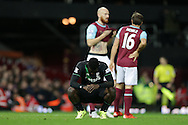 Mame Biram Diouf of Stoke City crouches down after missing another chance to score. Barclays Premier league match, West Ham Utd v Stoke city at the Boleyn Ground, Upton Park  in London on Saturday 12th December 2015.<br /> pic by John Patrick Fletcher, Andrew Orchard sports photography.
