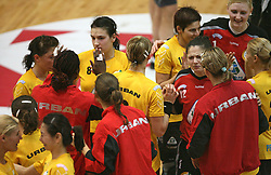 Players of Rulmentul-Urban at handball match of 1/4 finals of Women handball Cup Winners cup between RK Krim Mercator, Ljubljana and C.S. Rulmentul-Urban Brasov, Romania, in Arena Kodeljevo, Ljubljana, Slovenia, on 8th of March 2008. Rulmentul-Urban won match against RK Krim Mercator with 29:27.