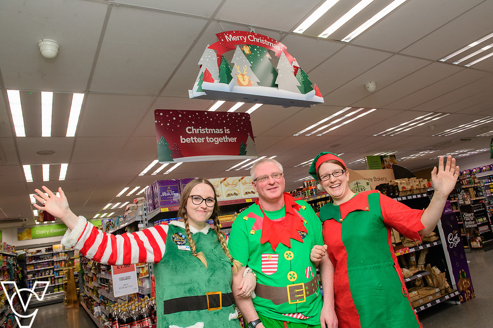 Lincolnshire Co-op: Christmas event day - Dunholme Food Strore, Market Rasen Road, Dunholme. Pictured is, from left, Krystina Flodman, Gary Carver and Katy Hallows.<br /> <br /> Picture: Chris Vaughan Photography for Lincolnshire Co-op<br /> Date: December 1, 2018
