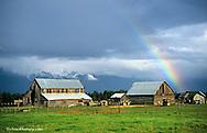 Flathead Valley Barn with Rainbow near Whitefish, Montana, USA