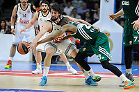 Real Madrid´s Sergio Llull and Zalgiris Kaunas´s James Anderson during 2014-15 Euroleague Basketball match between Real Madrid and Zalgiris Kaunas at Palacio de los Deportes stadium in Madrid, Spain. April 10, 2015. (ALTERPHOTOS/Luis Fernandez)