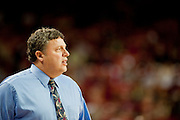 Nov 16, 2011; Fayetteville, AR, USA; Oakland Grizzlie head coach Greg Kampe watches a game from the bench area during a game against the Arkansas Razorback at Bud Walton Arena.  Arkansas defeated Oakland 91-68. Mandatory Credit: Beth Hall-US PRESSWIRE