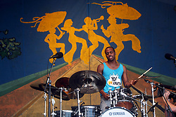 04 May 2012. New Orleans, Louisiana,  USA. .New Orleans Jazz and Heritage Festival. .Bonerama, a brass funk rocker band from New Orleans. Alvin Ford Jr on drums..Photo; Charlie Varley.
