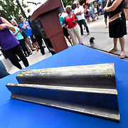 Rail Rally, Kansas City Streetcar construction, July 29, 2015. Last piece of rail signed by Mayor Sly James, members of City Council, and supporters of streetcar project.