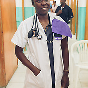 INDIVIDUAL(S) PHOTOGRAPHED: Kelinda E. Chevalier. LOCATION: Justinian University Hospital (HUJ), Cap-Haïtien, Haïti. CAPTION: Kelinda E. Chevalier, a medical student, poses for a portrait in the Women's General Medicine Department at the Justinian University Hospital (HUJ) in Cap-Haïtien.