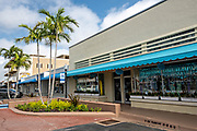 Shops in the historic downtown of Stuart, Florida. The tiny hamlet was founded in 1870 and was voted the Happiest Seaside Town in America by Coastal Living.