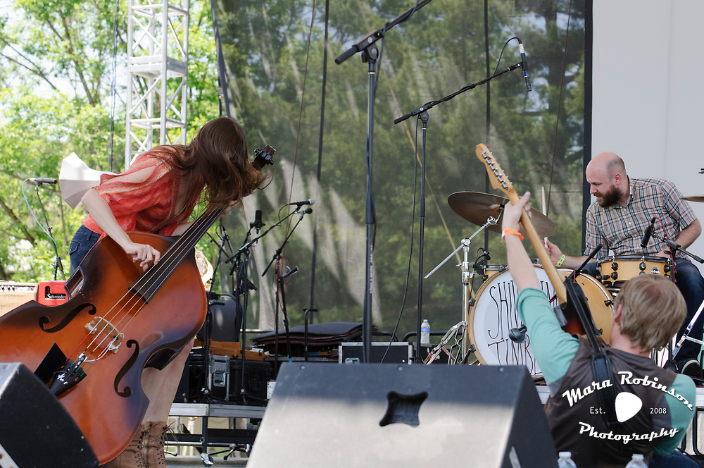 Sarah Benn, Jayson Benn and Brad Thorla of Shivering Timbers, live at Nelsonville Music Festival Saturday May 19 at 1pm, photos by Mara Robinson