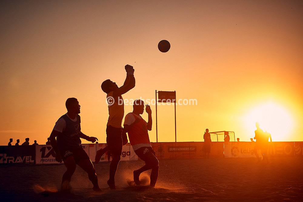 NAZARE, PORTUGAL - MAY 30: AD Buarcos 2017 players train during the Euro Winners Cup Nazaré 2019 at Nazaré Beach on May 30, 2019 in Nazaré, Portugal. (Photo by Jose M. Alvarez)
