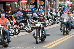 Main Street was busy the first weekend of Daytona Beach Bike Week. FL. USA. Sunday March 12, 2017. Photography ©2017 Michael Lichter.