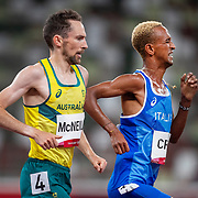 TOKYO, JAPAN August 3:   David McNeill of Australia and Yemaneberhan Crippa of Italy in action during the Men's 5000m round one heat one race at the Olympic Stadium during the Tokyo 2020 Summer Olympic Games on August 3rd, 2021 in Tokyo, Japan. (Photo by Tim Clayton/Corbis via Getty Images)