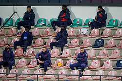 LEUVEN, BELGIUM - Sunday, November 15, 2020: England substitutes sit socially distanced during the UEFA Nations League Group Stage League A Group 2 match between England and Belgium at Den Dreef. (Pic by Jeroen Meuwsen/Orange Pictures via Propaganda)
