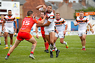 Bradford Bulls winger Omari Caro (18) fights his way to score a try to make the score  18-24 during the Kingstone Press Championship match between Sheffield Eagles and Bradford Bulls at, The Beaumont Legal Stadium, Wakefield, United Kingdom on 3 September 2017. Photo by Simon Davies.