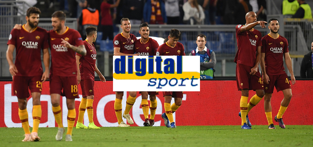 Edin Dzeko of AS Roma (2R) celebrates with team mates after scoring the goal  of 1-0 during the Uefa Champions League 2018/2019 Group G football match between AS Roma and CSKA Moscow at Olimpico stadium Allianz Stadium, Rome, October, 23, 2018 <br />  Foto Andrea Staccioli / Insidefoto