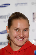 Moscow, Russia, 09/10/2004..The WTA Kremlin Cup tennis tournament. Nadia Petrova at the tournament draw and press conference..