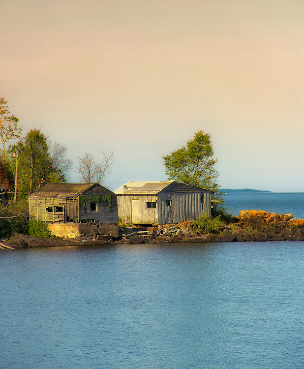 Old Weathered Buildings in a cove along Minnesota's North Shore on Lake Superior