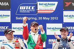 """20.05.2012, Salzburgring, Salzburg, AUT, FIA, WTTC Rennen 2, im Bild Podium: zweiter: #2, Robert Huff (GBR), Chevrolet, Chevrolet Cruze 1.6 T, Sieger: #26, Stefano D Aste (ITA), Wiechers Sport, BMW E90 320 TC und dritter: #15,Tom Coronel (NED), ROAL Motorsport, BMW E90 320 TC // during the FIA WTCC Series Austrian Race two, held at the """"Salzburgring"""" near Salzburg, Austria on 2012/05/20. EXPA Pictures © 2012, PhotoCredit: EXPA/ Juergen .Feichter"""