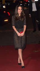 Catherine, Duchess of Cambridge, Patron of SportsAid, arrives to attend the SportBall, the charity's annual gala dinner, at Supernova in Embankment Gardens, London on November 28, 2013.  The Duchess is wearing a black Temperley cocktail dress, Jimmy Choo shoes and a red Alexander McQueen clutch bag.
